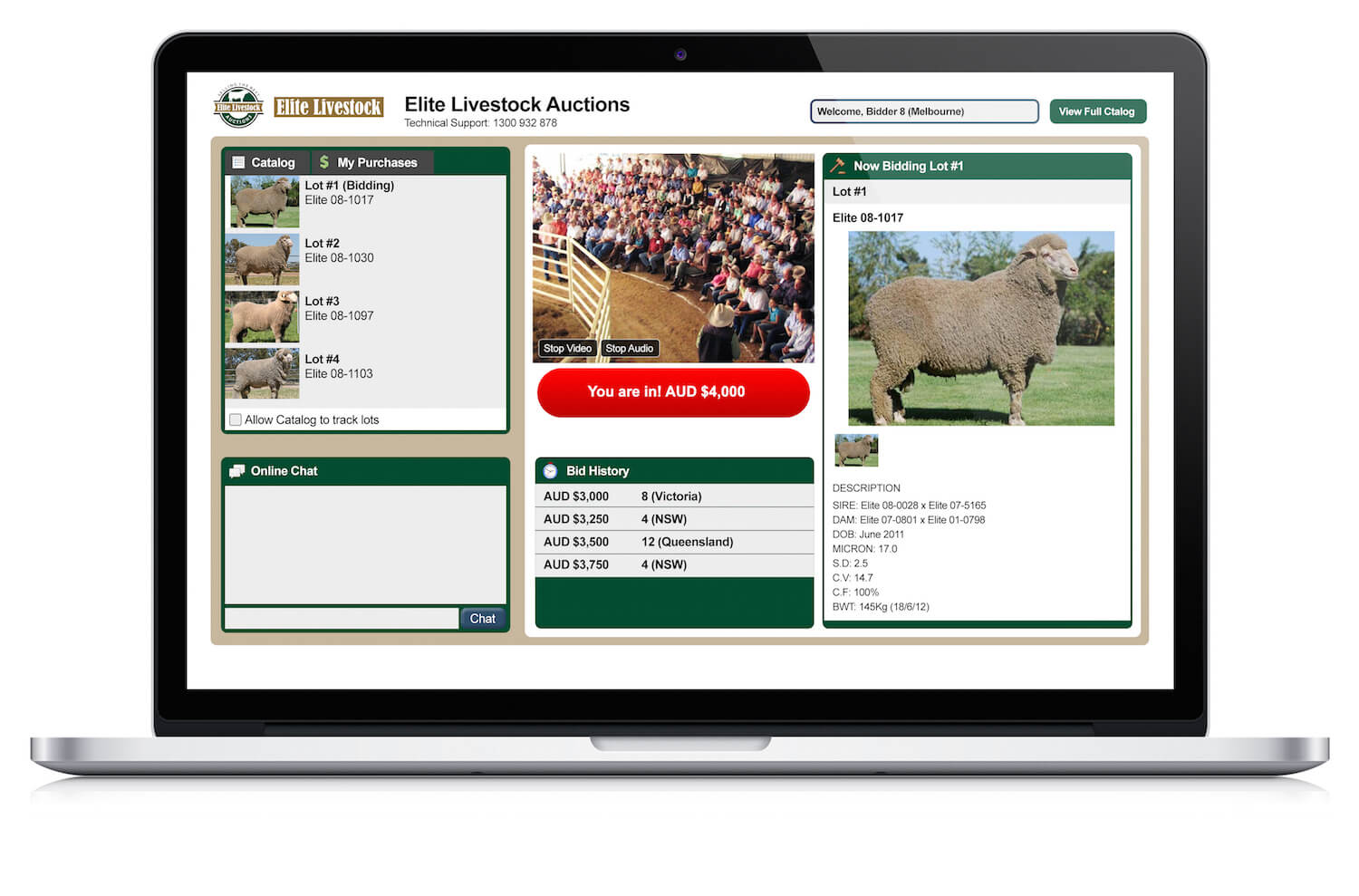 Sheep Auction Laptop Interface