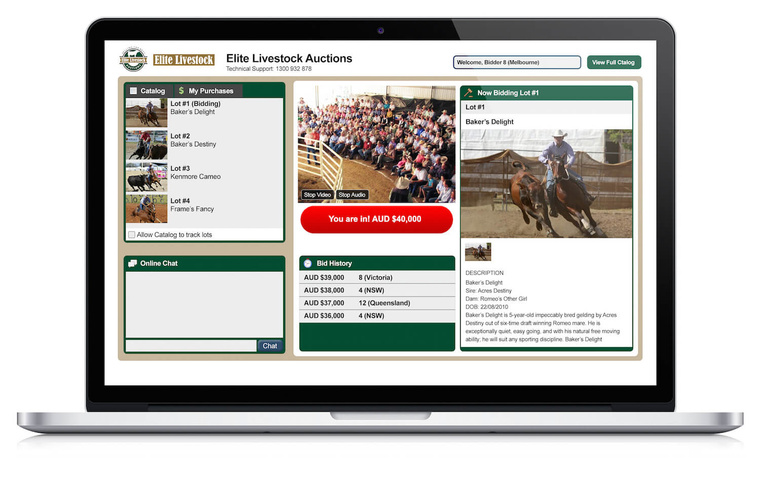 Horse Auction Laptop Interface